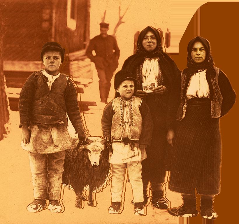 Grup de țărani în anii primului Război Mondial, Moldova