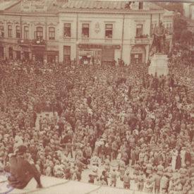 Voluntarii ardeleni la statuia lui Alexandru Ioan Cuza