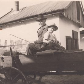 Bunic și nepot în căruță